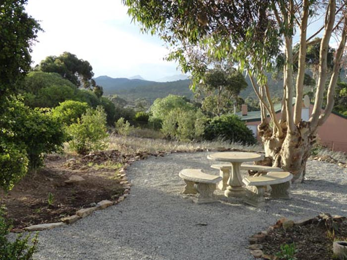 Gumtree Cottage patio towards the gum tree
